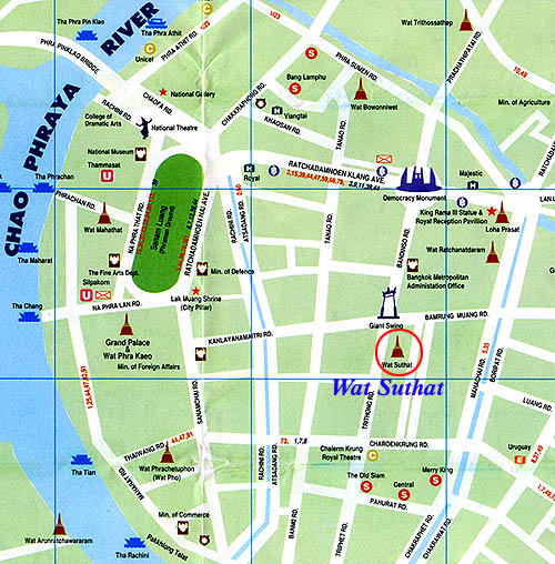Wat Suthat Bangkok Location Map for Tourists – Bangkok Tourist Attractions Map